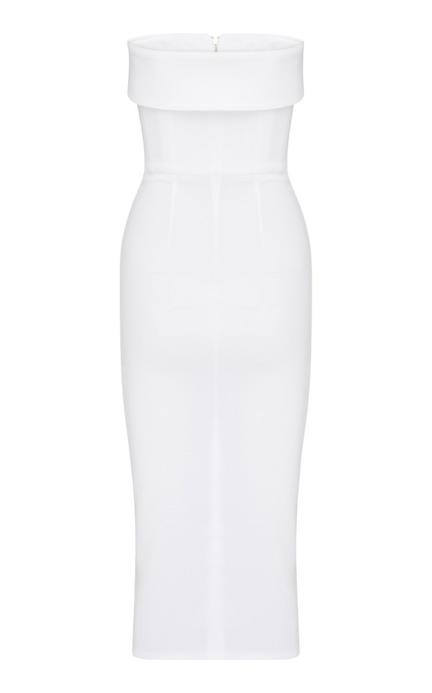 Alex Perry Moore Zip-Front Crepe Dress in white