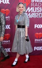 dress,black and white,plaid,katy perry,celebrity,mini dress,pumps,vinyl
