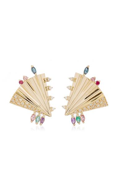 Carolina Neves Plissé 18K Yellow Gold Multi-Stone Earrings