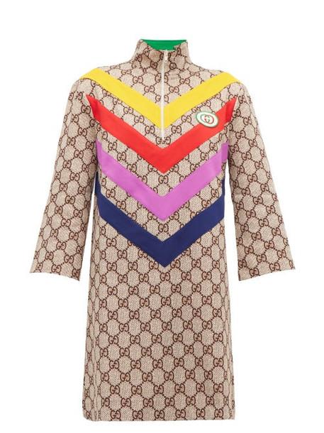 Gucci - Gg Supreme Jacquard Rainbow Appliqué Dress - Womens - Brown Multi