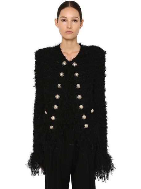 BALMAIN Cropped Tweed Jacket W/fringe Details in black