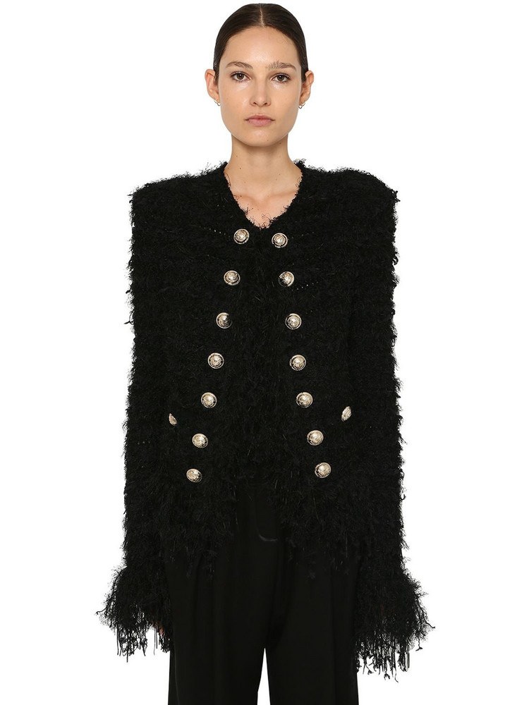 BALMAIN Cropped Tweed Jacket W/fringe Details in black