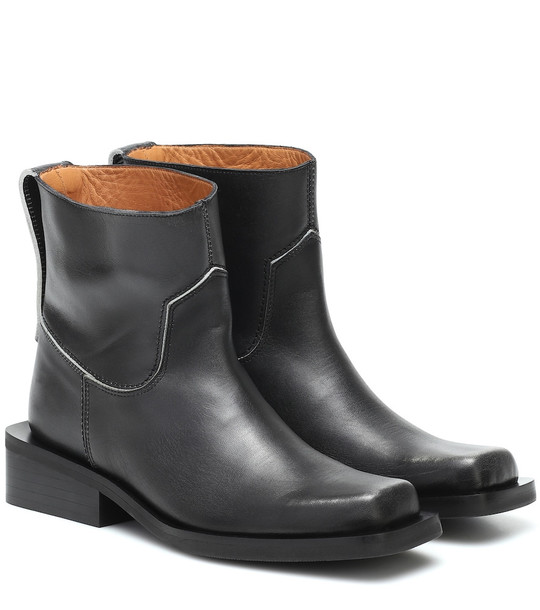 Ganni Low MC leather ankle boots in black