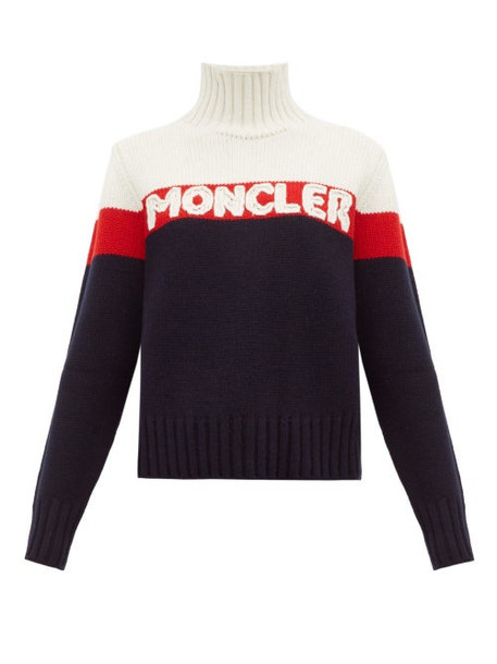 Moncler - Logo Jacquard Striped Wool Blend Sweater - Womens - Cream Multi