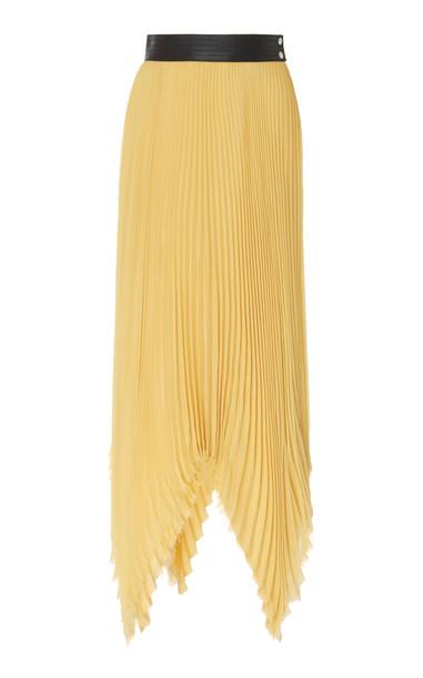 Loewe Leather-Trim Pleated Jersey-Silk Midi Skirt in yellow