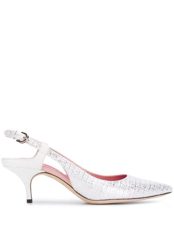 Emilio Pucci woven slingback pumps in white