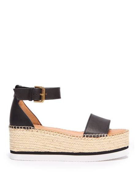 See By Chloé See By Chloé - Leather Flatform Espadrilles - Womens - Black