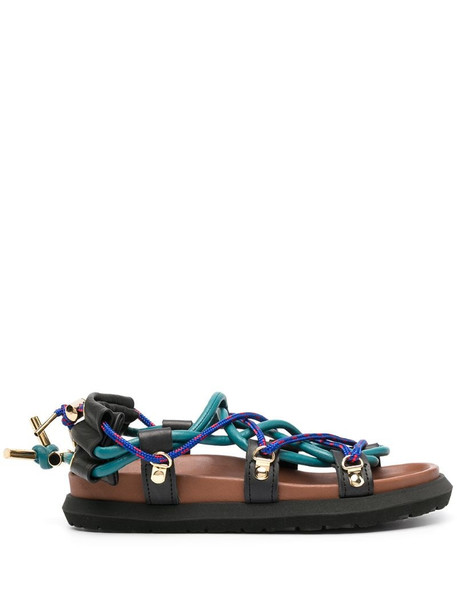 Sacai strappy flat sandals in brown