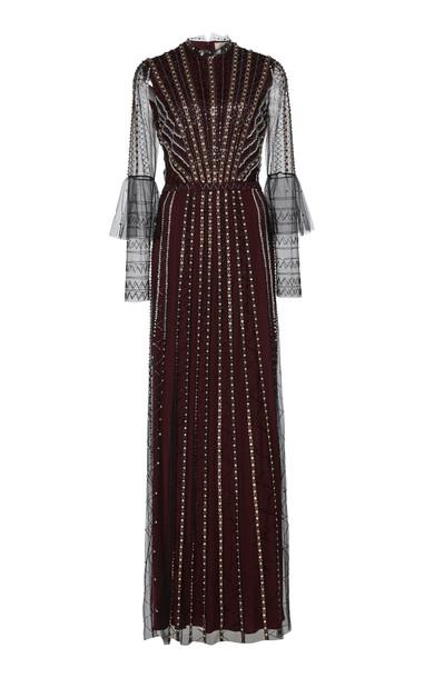 Temperley London Queenie Bead-Embellished Tulle Gown in black