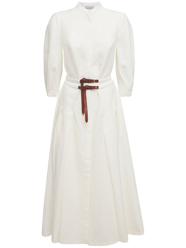 GABRIELA HEARST Linen Woven Midi Dress W/ Two Belts in ivory