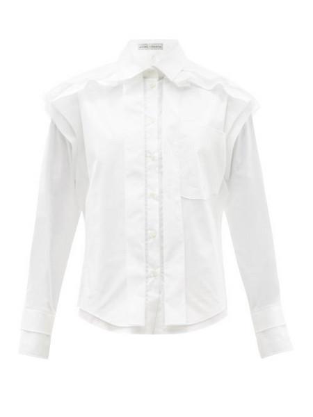 Palmer/harding Palmer//harding - Bursting Excitement Cotton-blend Poplin Shirt - Womens - White