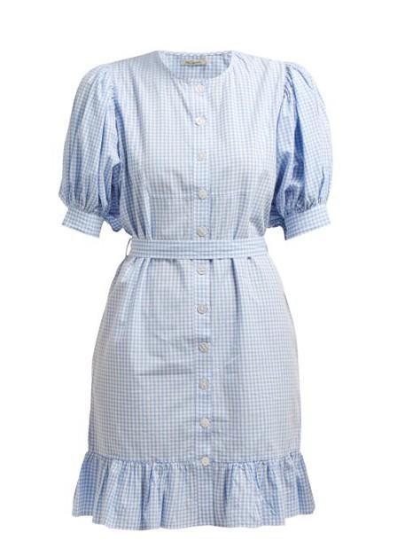 Mes Demoiselles - Tropique Gingham Check Cotton Dress - Womens - Blue White