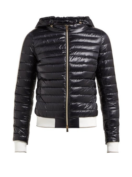 Herno - Striped Trim Hooded Quilted Jacket - Womens - Black