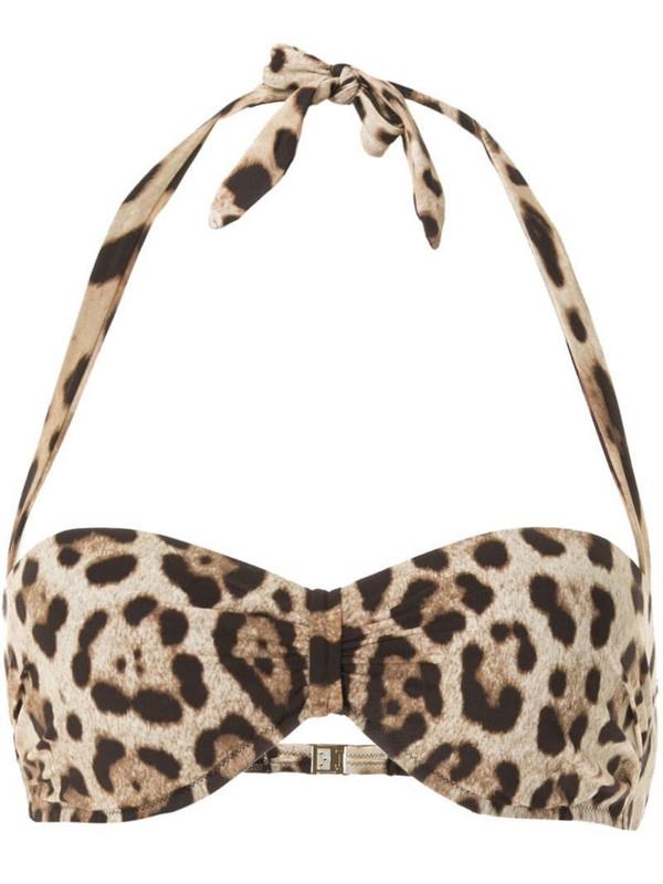 Dolce & Gabbana leopard print bikini top in brown
