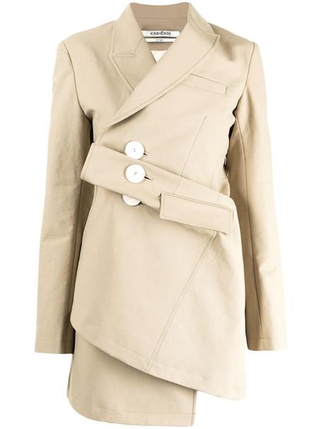 Kimhekim Venus draped single-breasted blazer in brown