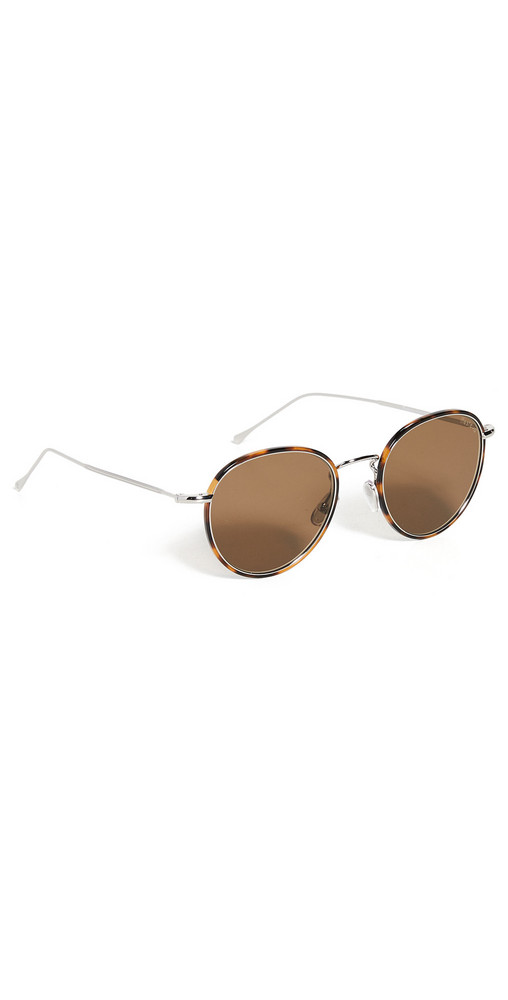 Illesteva Jefferson Ace W/ Brown Flat Lenses in silver