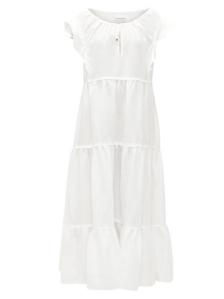 Ephemera - Drawstring-neck Tiered Linen Maxi Dress - Womens - Ivory