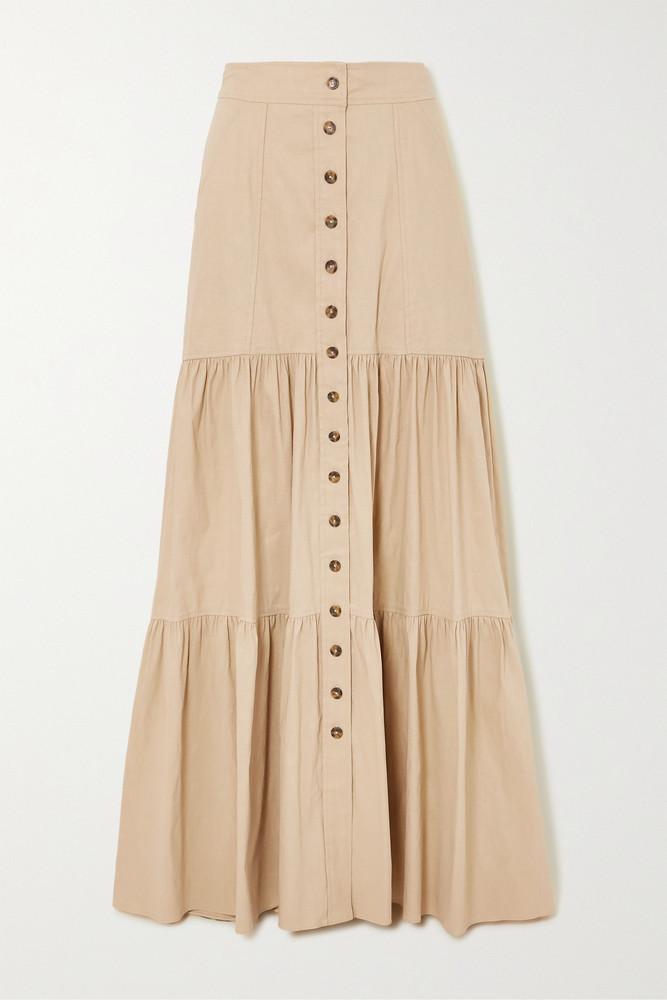 A.L.C. A.L.C. - A.l.c. X Petra Flannery Inez Tiered Linen-blend Maxi Skirt - Neutrals