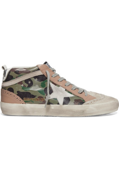 Golden Goose - Mid Star Distressed Camouflage-print Leather And Suede Sneakers - Army green