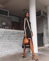 dress,black dress,midi dress,long sleeve dress,slit dress,black sandals,brown bag