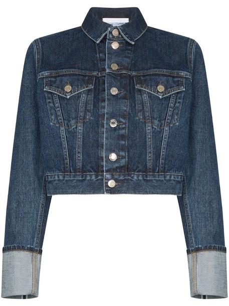Helmut Lang Fem Little Trucker cropped denim jacket in blue