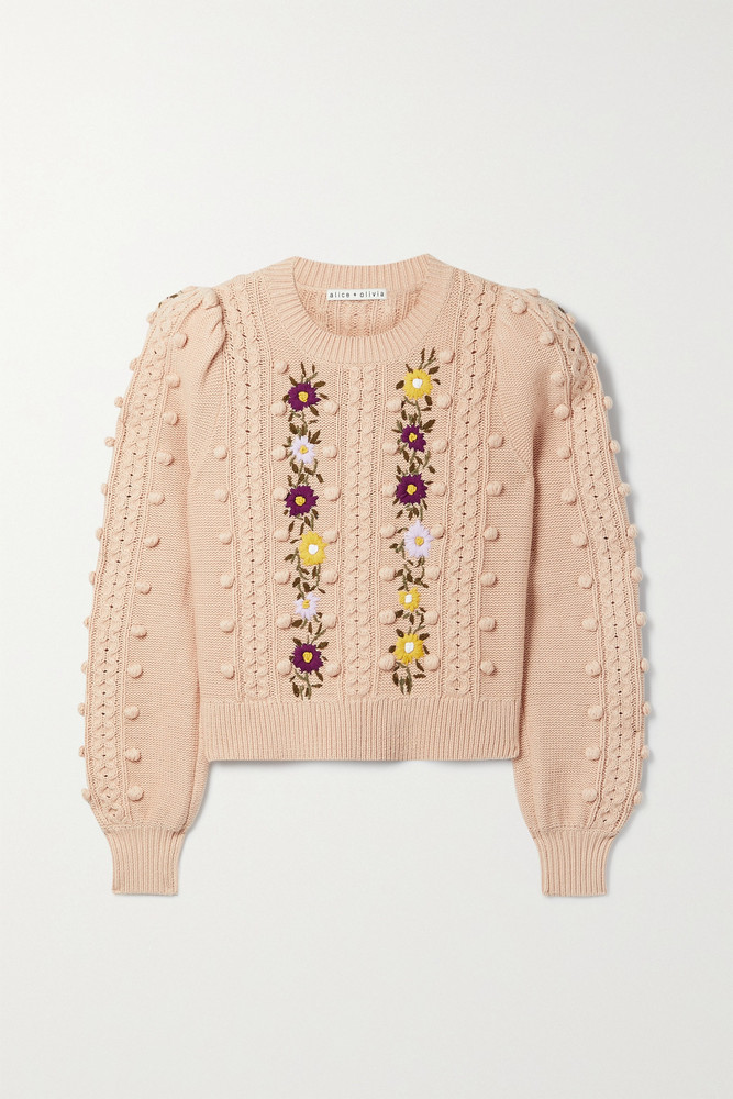 Alice + Olivia Alice + Olivia - Enid Pompom-embellished Embroidered Wool And Cotton-blend Sweater - Pink