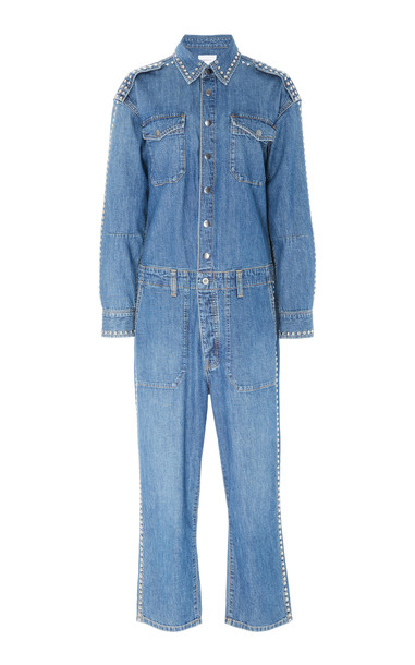Current/Elliott Crew Cropped Studded Denim Jumpsuit Size: 0 in blue