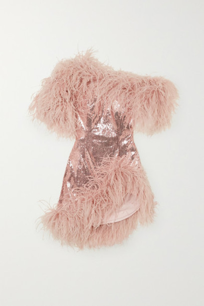 16ARLINGTON - Vivien Asymmetric Feather-trimmed Sequined Crepe Mini Dress - Pink