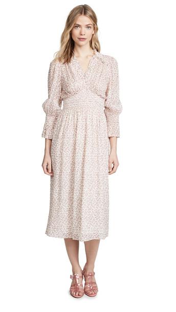 Rebecca Taylor Long Sleeve Francesca V Neck Dress in cream