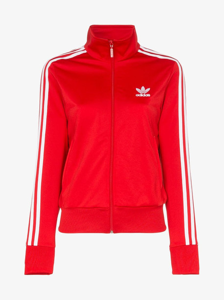 Adidas Classic Side Stripe Logo Track Jacket in red
