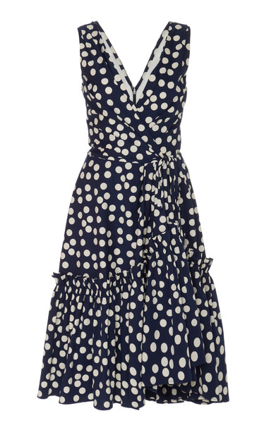 Carolina Herrera Ruffle Hem Dress V Neck Dress Size: 0 in navy