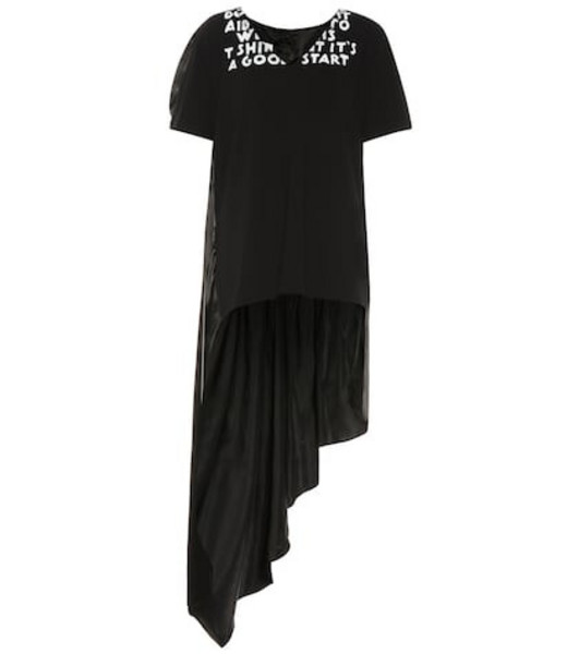 MM6 Maison Margiela Printed cotton and satin top in black