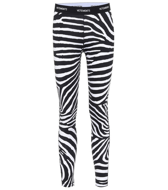 Vetements Logo zebra-print leggings in black