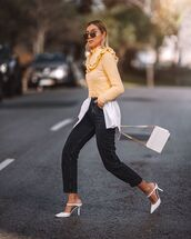 sweater,yellow sweater,zara,mules,white bag,black jeans,straight jeans