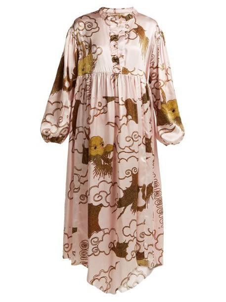 By Walid - Print Silk Satin Dress - Womens - Pink Print