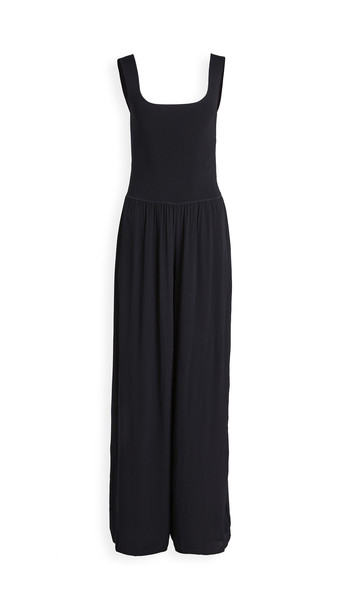 Theory Square Neck Rib Jumpsuit in black