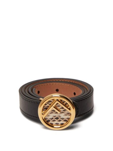 Fendi - Watersnake Monogram Buckle Leather Belt - Womens - Black