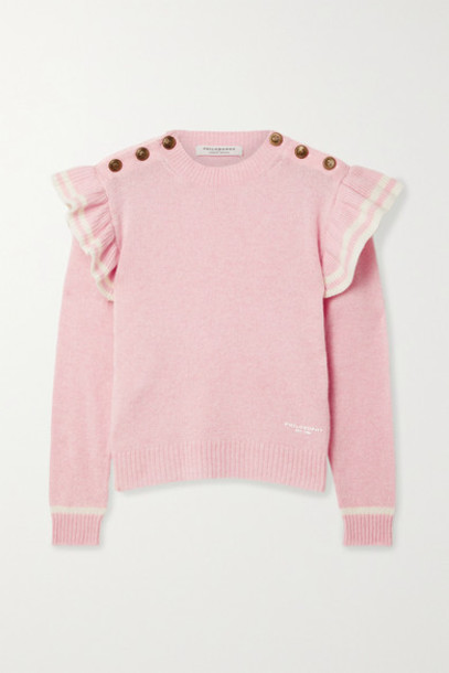 Philosophy di Lorenzo Serafini - Ruffled Striped Cashmere Sweater - Baby pink