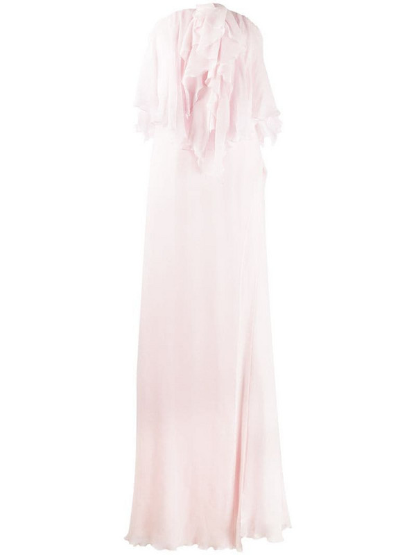 Redemption sleeveless ruffled neck silk gown in pink