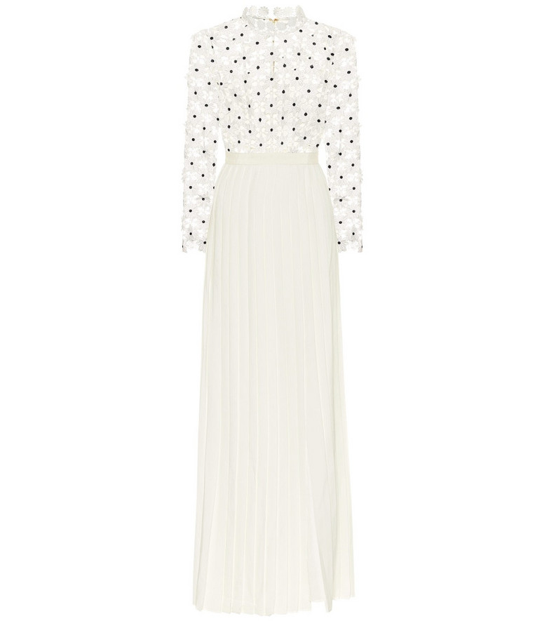 Self-Portrait Daisy pleated guipure-lace gown in white