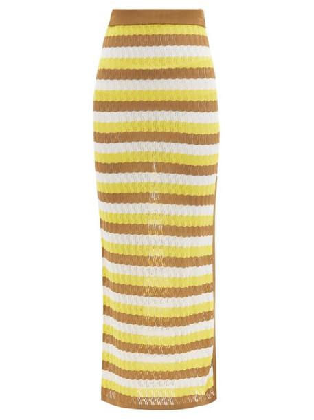 Dodo Bar Or - Sia Striped Pointelle-knit Midi Skirt - Womens - Yellow Multi