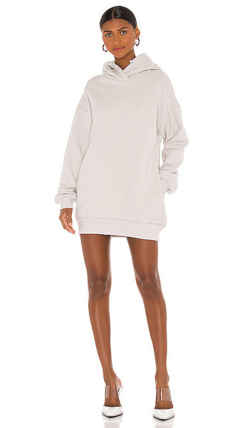 Vimmia x CRK Drawstring Hoodie Dress in Grey in stone