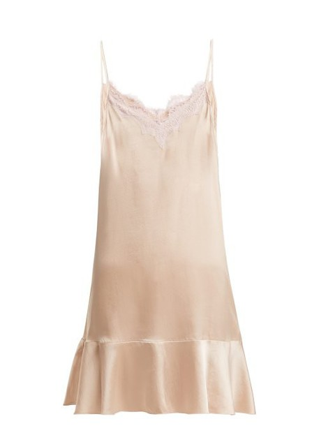 Icons - Jasmin Lace And Silk Satin Slip Dress - Womens - Light Pink