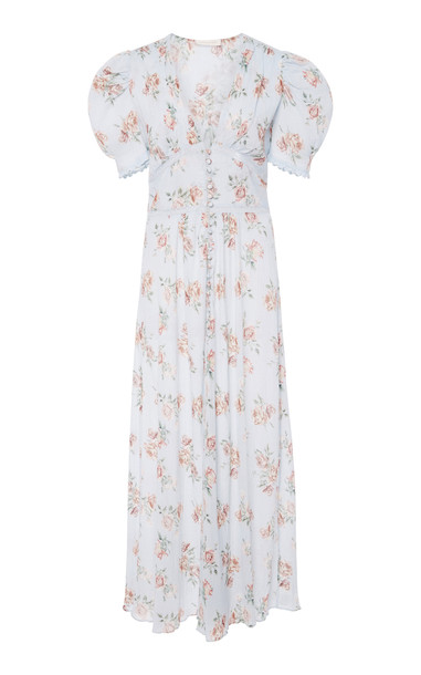 LoveShackFancy Stacy Floral-Print Cotton-Voile Midi Dress Size: M in blue