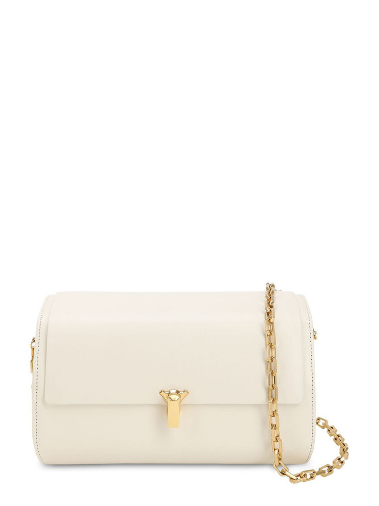 THE VOLON Po B Trunk Leather Shoulder Bag in white
