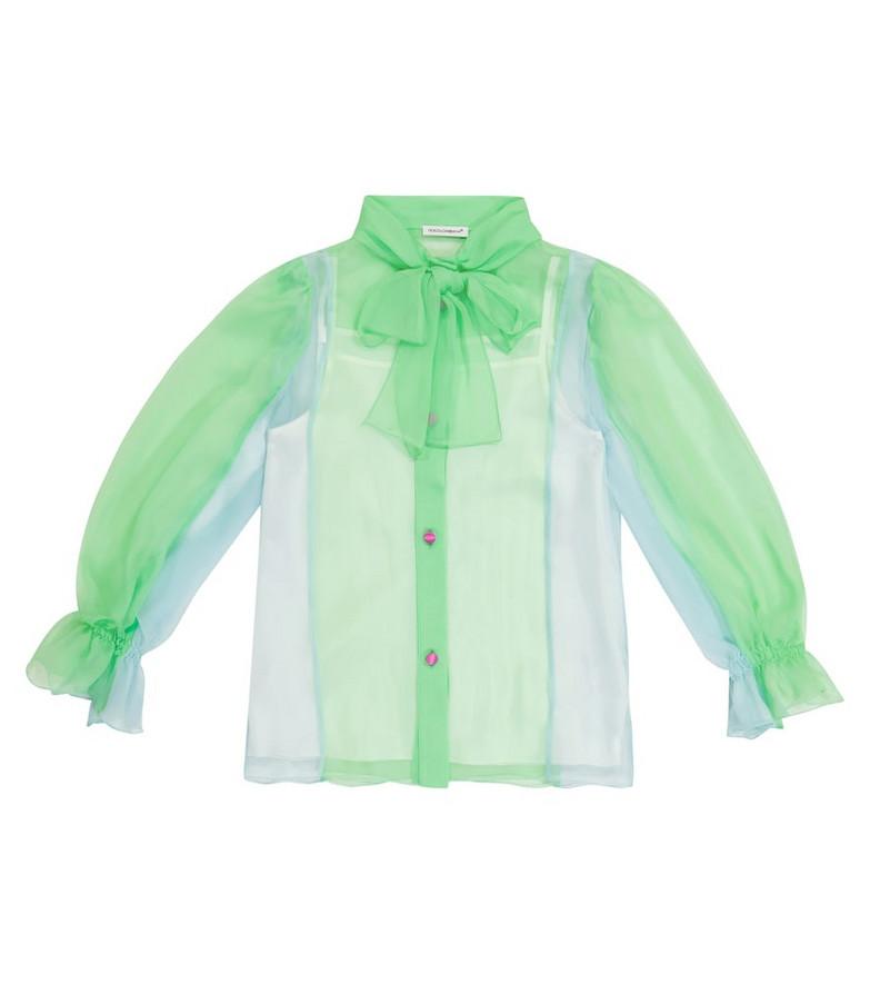 Dolce & Gabbana Kids Silk chiffon blouse in green