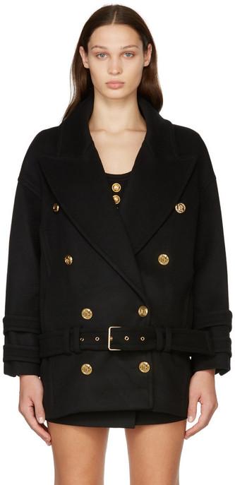 Balmain Black Wool & Cashmere Pea Coat in noir