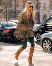 shoes,brown boots,knee high boots,celine,skinny jeans,plaid,oversized jacket,fringes