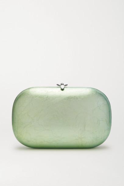 Jeffrey Levinson - Elina Plus Textured Silver And Enamel-plated Chrome Clutch - Mint