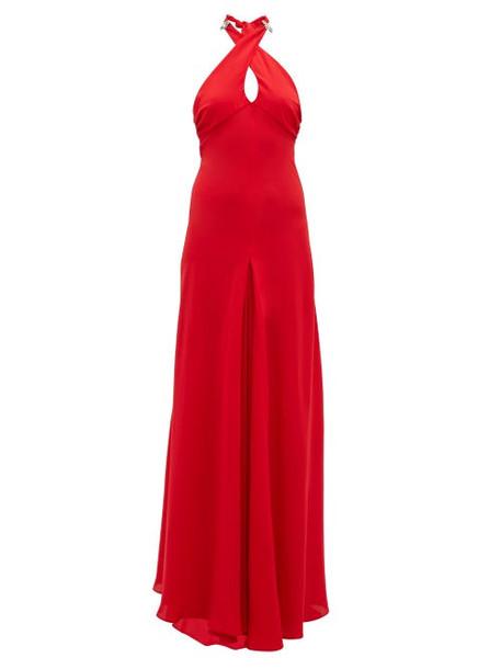 Julie De Libran - Julia Cross Over Halterneck Silk Gown - Womens - Red